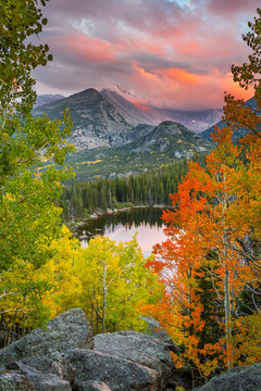 Fall colors and sunset over longs peak and bear lake in rocky mountain national park