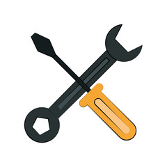 wrench spanner and screwdriver tool icon image vector illustration design