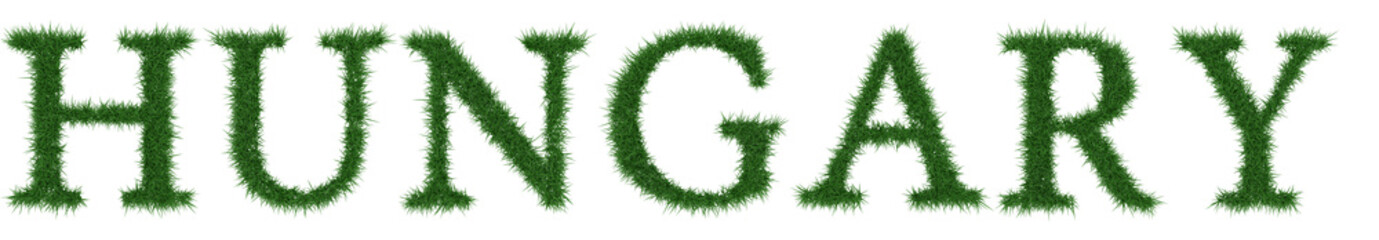 Hungary - 3D rendering fresh Grass letters isolated on whhite background.