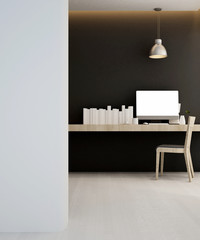 workplace in hotel or apartment - Interior design - 3D Rendering