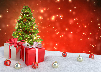 Christmas tree and gifts in snow on bokeh red background. 3D illustration