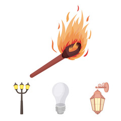 LED light, street lamp, match.Light source set collection icons in cartoon style vector symbol stock illustration web.