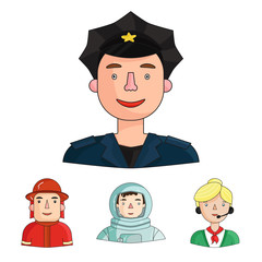 An astronaut in a spacesuit, a co-worker with a microphone, a fireman in a helmet, a policeman with a badge on his cap. People of different professions set collection icons in cartoon style vector