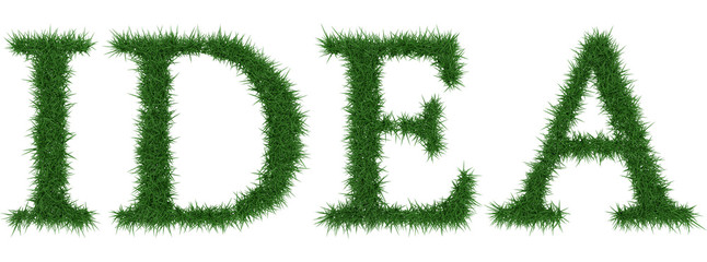Idea - 3D rendering fresh Grass letters isolated on whhite background.