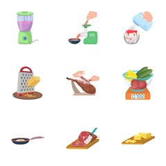 equipment, appliance, kitchen and other web icon in cartoon style. piece, Smoked meat, delicacy icons in set collection.