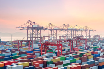 Poster de jardin Chine container terminal in sunset