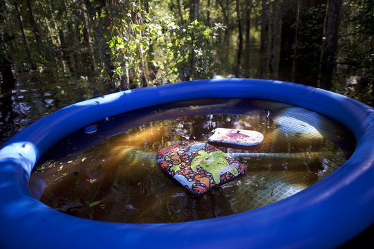 An inflatable pool floats in flood waters after Hurricane Irma in Jacksonville