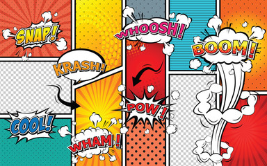 Comic sound effect speech bubble pop art.