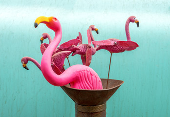 Flamingo Yard-Spinners Against Turquoise Blue Background