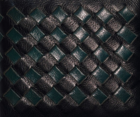 Woven pattern on leather bag.