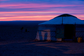 Yurt Purple Sky Sunset Gobi Desert Mongolia