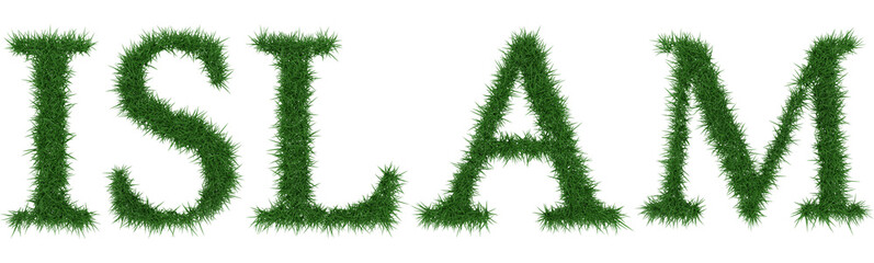 Islam - 3D rendering fresh Grass letters isolated on whhite background.