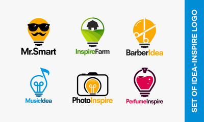 Set of Idea logo template, set of Inspire logo designs vector