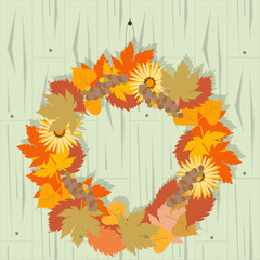Autumn decoration for door on wooden background