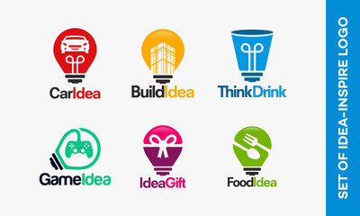 Set of Idea logo template, set of Inspire logo designs vector