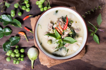 Thai food (Kaeng Khiao Wan),Green curry with pork on wooden background