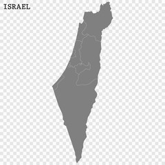 High quality map of Israel with borders of the regions