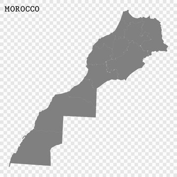 High quality map of Morocco with borders of the regions