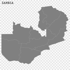 High quality map of Zambia with borders of the regions