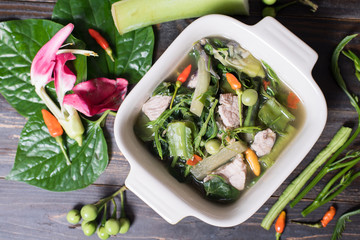 Thai Northern food (Kaeng Khae with pork),curry is made mainly with vegetables and herbs, Main ingredients is Piper sarmentosum leaves