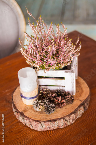 Candles In Restaurant Decor Candle And Pine Cones Decorative White