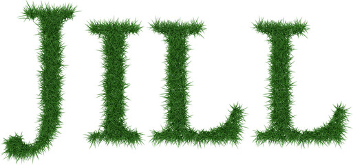 Jill - 3D rendering fresh Grass letters isolated on whhite background.