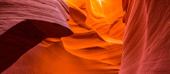 Wall Murals Magenta Beautiful abstract red sandstone formations in the Antelope Canyon, Arizona