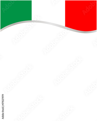 Italian flag frame wave with blank space for text.\