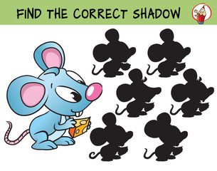 Funny little mouse with a piece of cheese. Find the correct shadow. Educational matching game for children. Cartoon vector illustration