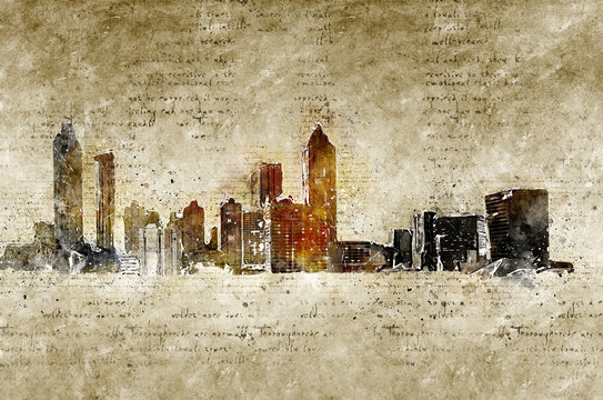 skyline of atlanta in modern and abstract vintage look
