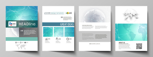 The vector illustration of the editable layout of A4 format covers design templates for brochure, magazine, flyer, booklet, report. Chemistry pattern. Molecule structure. Medical, science background.