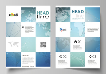 The vector illustration of the editable layout of A4 format covers design templates for brochure, magazine, flyer, booklet, report. Chemistry pattern, connecting lines and dots. Medical concept.