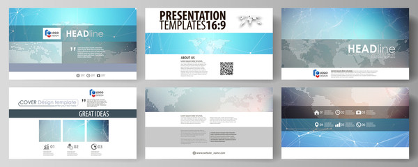 The minimalistic abstract vector illustration of the editable layout of high definition presentation slides design business templates. Molecule structure. Science, technology concept. Polygonal design