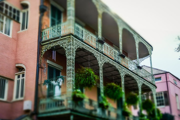 Old house with a balcony. Scenic colorful streets of New Orleans, Louisiana
