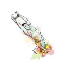 Watercolor sketch of Rugby Player with ball in vector illustration.