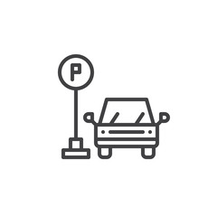 Parking line icon, outline vector sign, linear style pictogram isolated on white. Symbol, logo illustration. Editable stroke