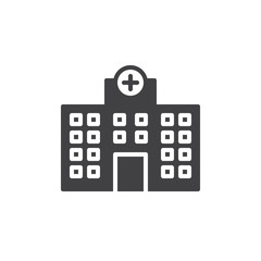Hospital building icon vector, filled flat sign, solid pictogram isolated on white. Symbol, logo illustration.