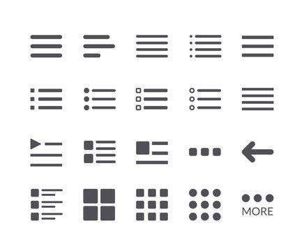 Minimal Set of Hamburger Menu Flat Icons