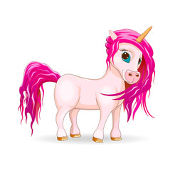 My lovely unicorn.A unicorn is pink in color on a white background.