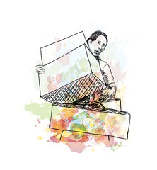 Watercolor sketch of Shopping Lady with box in vector illustration.