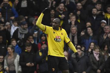 Watford's Stefano Okaka celebrates scoring their third goal