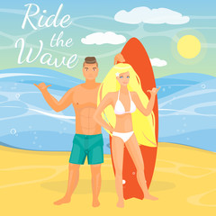 Vector flat illustration of surfing couple showing shaka gesture