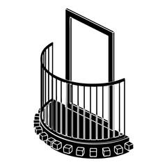 One door balcony icon, simple style