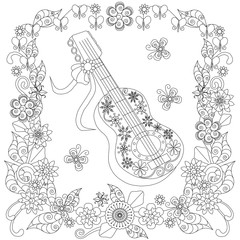 Zentangle, stylized black and white guitar in flower frame hand drawn, stock vector illustration