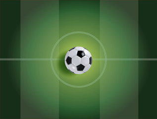 Realistic soccer ball or football ball on green field background. 3d Style vector Ball.