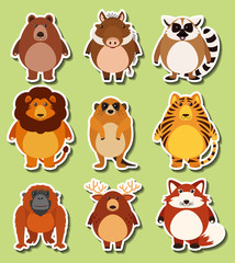 Sticker design with wild animals