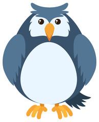 Blue owl with round body