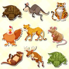 Sticker set with many animals