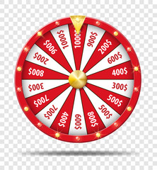 Red Wheel Of Fortune isolated on transparent background. Casino lottery luck game. Win fortune Wheel roulette. Vector illustration.