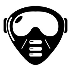 Paintball mask equipment icon, simple style